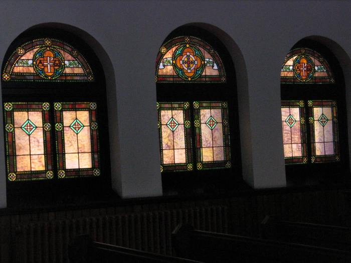 Aisle windows, Emmanuel Episcopal Church, dates unknown; attributed to Leake & Greene