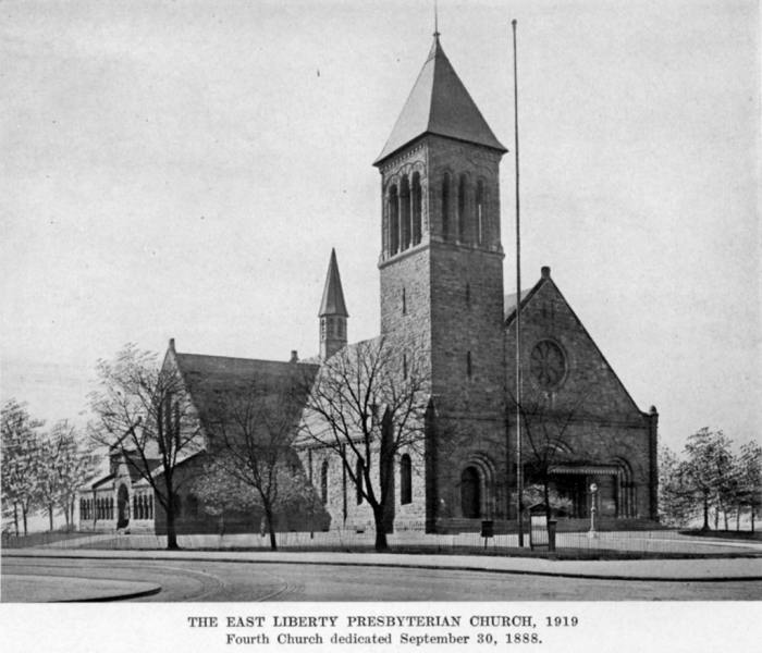 East Liberty Presbyterian Church (1888-1931).  Photograph taken from Georgina G. Negley, East Liberty Presbyterian Church (Pittsburgh 1919): following page 118.