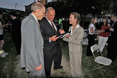 PHLF President Arthur P. Ziegler, Jr, Pennsylvania Gov. Ed Rendell, PHLF Executive Director Louise Sturgess