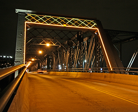 North Portal of the Hot Metal Bridge Lighted With Fiber Optics and LED Technology