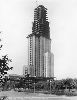 The Cathedral of Learning is home to 27 Nationality Rooms, which showcase the culture of the ethnic groups that built Pittsburgh. The cathedral begins to tower over the city in the summer of 1930.