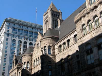 H.H. Richardson's Allegheny County Courthouse (1884-1888) and D.H. Burnham's Frick Building (1901-02), Grant Street, Downtown Pittsburgh