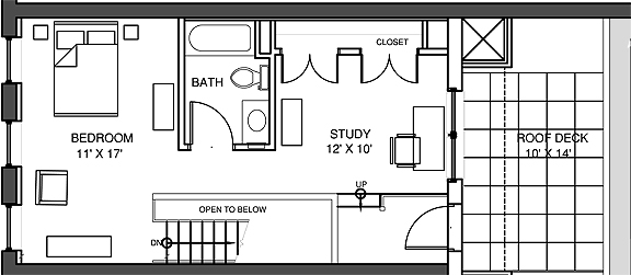 Apartment 5, Level 2 Floor-plan With Roof Deck
