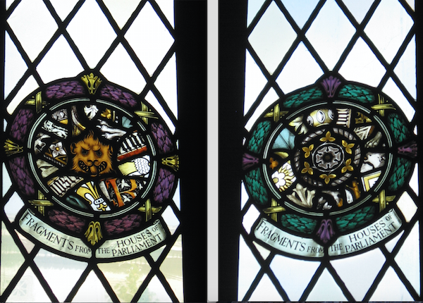Two roundels of stained glass fragments from windows in the House of Commons. Photographs by Keith Hoden for the Pittsburgh Tribune-Review Focus Magazine.