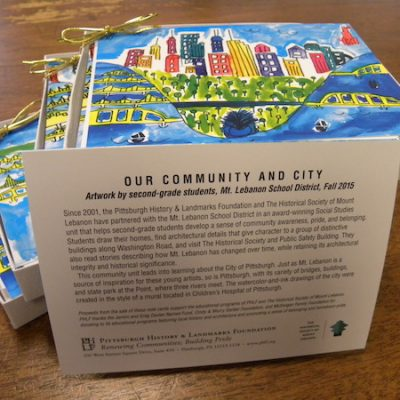 Our Community Our City Notecards, artwork created by Mt. Lebanon school students, PHLF merchandise, education program