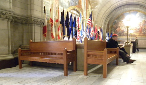 new custom benches in Allegheny County Courthouse